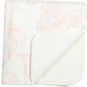 ALVIERO MARTINI Ivory & Pink Map Print Padded Baby Blanket