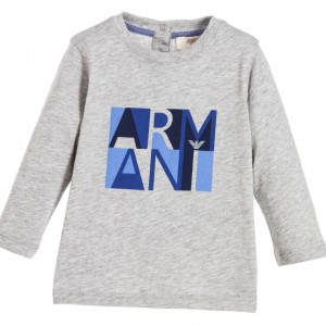 ARMANI BABY Baby Boys Grey Cotton Logo T-Shirt