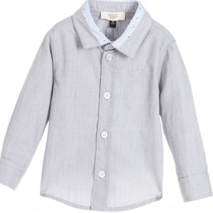 ARMANI BABY Baby Boys Grey Shirt with Blue Trim