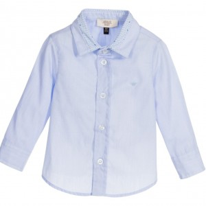 ARMANI BABY Baby Boys Pale Blue Shirt