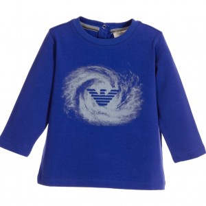 ARMANI BABY Baby Boys Royal Blue Swirl Logo T-Shirt