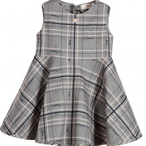 ARMANI BABY Baby Girls Grey & Pink Check Dress
