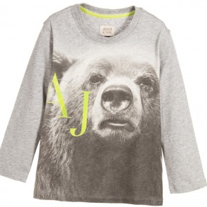 ARMANI JUNIOR Boys Grey Cotton Jersey Bear Print Logo Top