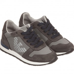ARMANI JUNIOR Boys Grey Suede & Fabric Trainers