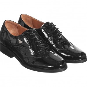 ARMANI TEEN Boys Black Patent Leather Brogues