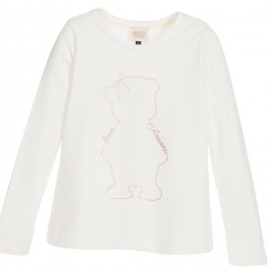 ARMANI TEEN Girls Teddy Bear Ivory T-Shirt
