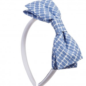 BALLOON CHIC Girls White Hairband with Blue Spotty Bow