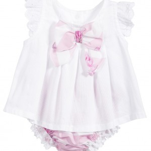 BALLOON CHIC Girls White Top & Pink Bloomers 2 Piece Set