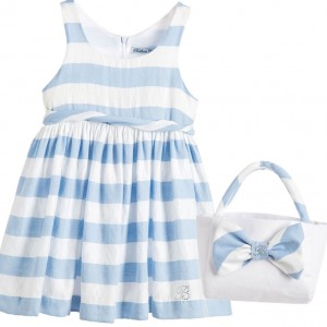 BALLOON CHIC Pale Blue Stripy Dress & Handbag 2 Piece Set
