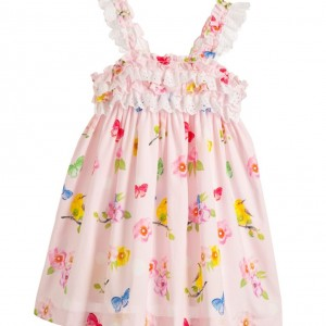 BALLOON CHIC Pink Cotton Butterfly Dress with Ruffles