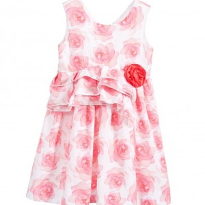 BALLOON CHIC Pink Floral Dress with Ruffles & Coral Red Rose