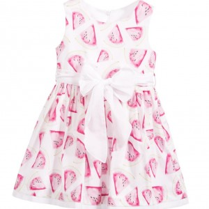 BALLOON CHIC Pink Pink Watermelon Dress with White Sash