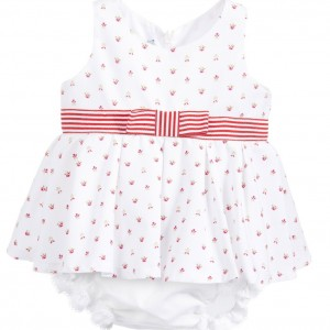 BALLOON CHIC White Cotton Rose Bud Baby Top & Knickers Set