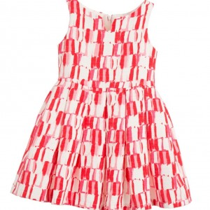 BALLOON CHIC White & Red Textured Cotton Dress with Bow