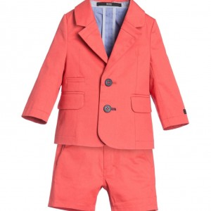 BOSS Baby Boys Coral Red 2 Piece Shorts Suit