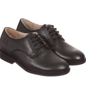 BOSS Boys Black Leather Lace-Up Shoes