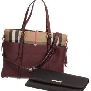 BURBERRY Beige Check & Burgundy Leather Baby Changing Bag