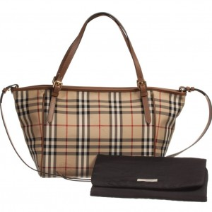 BURBERRY Beige Check & Tan Leather Baby Changing Bag