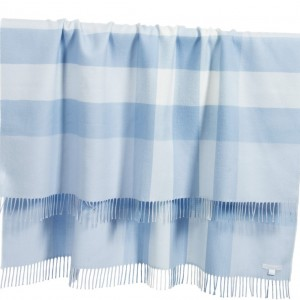 BURBERRY Blue Check Merino Wool Baby Blanket
