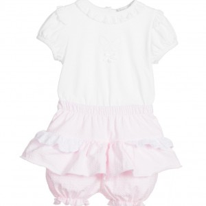 COCO COLLECTION Baby Girls 3 Piece Pink Cotton Shorts Set