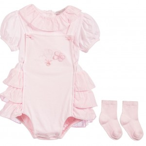 COCO COLLECTION Baby Girls 3 Piece Pink Ruffled Shortie Set