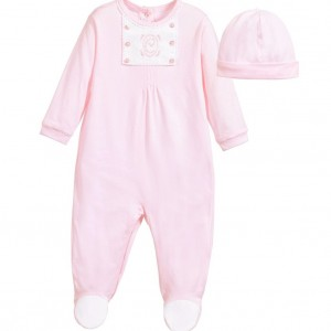 COCO COLLECTION Girls Pink 2 Piece Babygrow & Hat Set