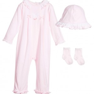 COCO COLLECTION Girls Pink 3 Piece Babygrow Set