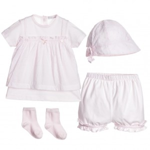 COCO COLLECTION Girls Pink 4 Piece Top, Shorts, Hat & Socks Set