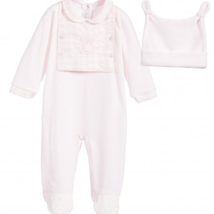 COCO COLLECTION Girls Pink Velour 2 Piece Babygrow & Hat Set