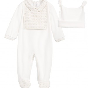 COCO COLLECTION Ivory Velour 2 Piece Babygrow & Hat Set