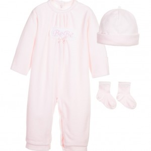 COCO COLLECTION Pink 3 Piece Velour Babygrow, Hat & Socks Set