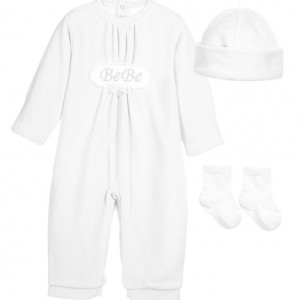 COCO COLLECTION White 3 Piece Velour Babygrow, Hat & Socks Set