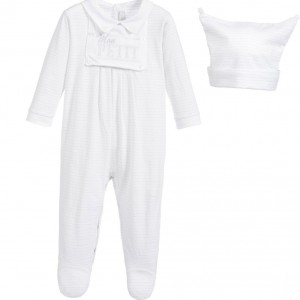 COCO COLLECTION White & Grey Spotty Babygrow 2 Piece Set