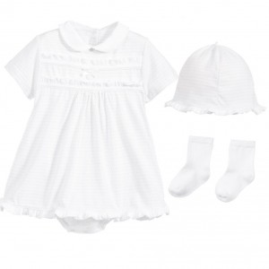 COCO COLLECTION White Shortie Dress, Hat & Socks 3 Piece Set