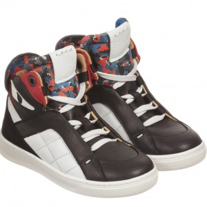 FENDI Black Leather 'Monster' High-Top Trainers
