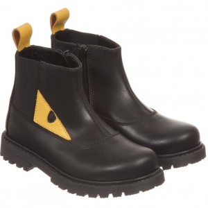 FENDI Black Leather 'Monster' Zip-Up Boots