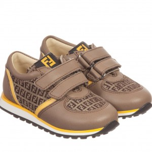FENDI Boys Brown Leather 'FF' Velcro Trainers