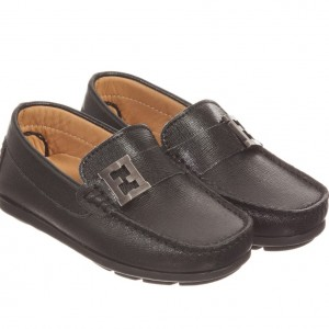 FENDI Boys 'FF' Black Leather Loafer Shoes