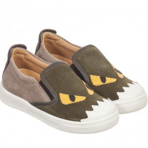 FENDI Green Suede 'Monster' Slip-On Trainers