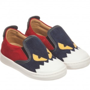 FENDI Navy Blue Suede 'Monster' Slip-On Trainers