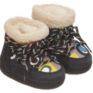 FENDI Teal Blue Suede 'Monster' Print Snow Boots