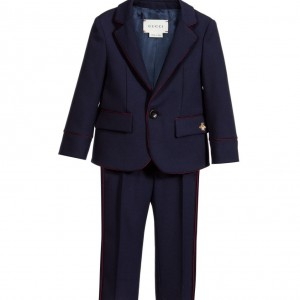 GUCCI Baby Boys Navy Blue Wool 2 Piece Suit
