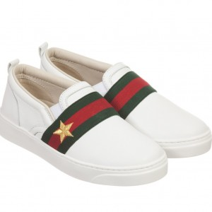 GUCCI White Leather Slip-On Shoes
