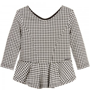 GUESS Girls Black & White Houndstooth Check Peplum Top