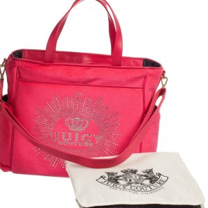 JUICY COUTURE Pink Velour Baby Changing Bag
