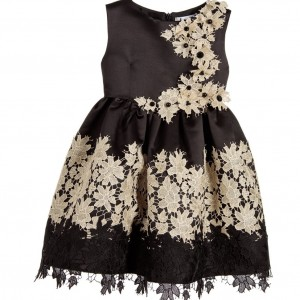 LESY LUXURY Black Satin & Gold Floral Lace Dress