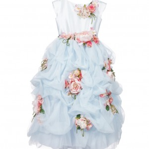 LESY LUXURY FLOWER Blue Tulle Luxury Long Dress