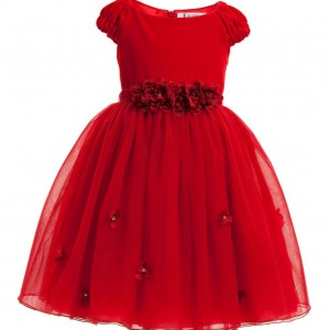 LESY LUXURY FLOWER Red Velvet & Tulle Dress with Flowers