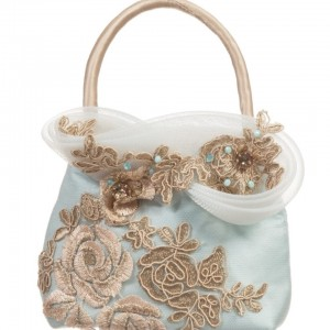 LESY LUXURY Girls Turquoise Blue & Gold Lace Bag
