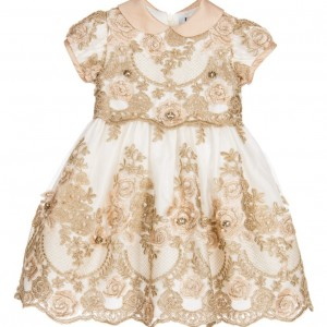 LESY LUXURY Ivory Tulle & Gold Lace Dress